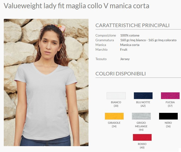 Maglietta collo V donna F61398 manica corta vestibilità medium fit
